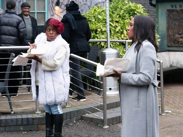 Kim and Denise on EastEnders on January 25, 2021