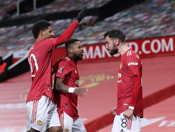Manchester United's Bruno Fernandes celebrates scoring against Liverpool in the FA Cup on January 24, 2021