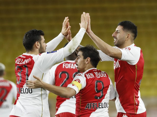 AS Monaco's Guillermo Maripan celebrates scoring their first goal with teammates on January 23, 2021