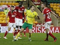 Norwich City's Jordan Hugill celebrates scoring against Bristol City in the Championship on January 20, 2021