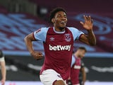 West Ham United's Oladapo Afolayan celebrates scoring their fourth goal on January 23, 2021