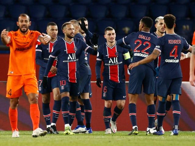 Kylian Mbappe celebrates scoring for Paris Saint-Germain against Montpellier in Ligue 1 on January 22, 2021