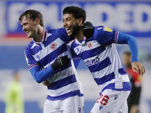 Reading's John Swift celebrates scoring against Coventry City in the Championship on January 19, 2021