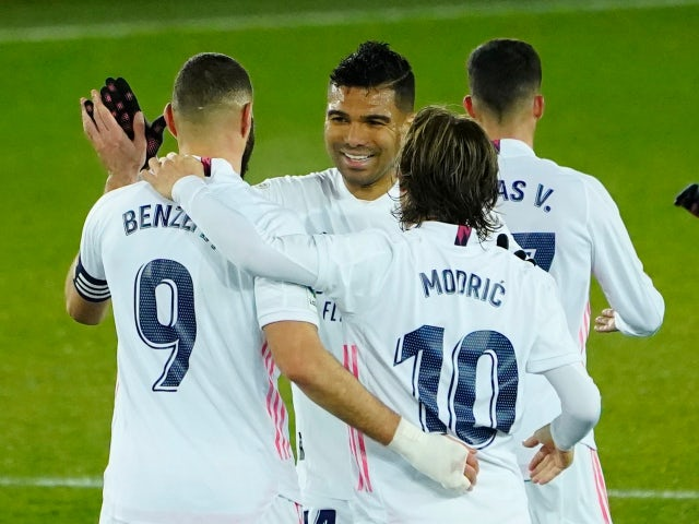 Karim Benzema celebrates scoring for Real Madrid against Alaves on January 23, 2021