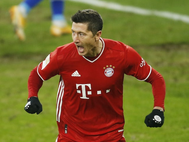 Bayern Munich's Robert Lewandowski celebrates scoring their second goal on January 24, 2021