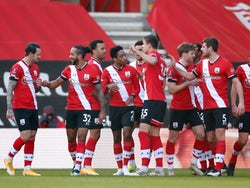Southampton players celebrate scoring against Arsenal in the FA Cup on January 23, 2021