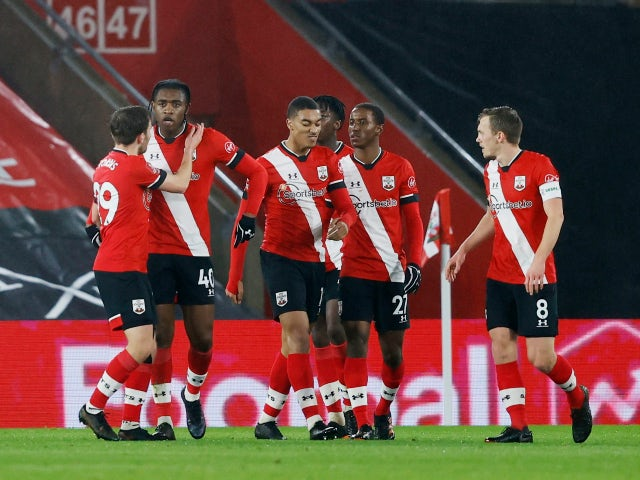 Southampton celebrate scoring against Shrewsbury Town in the FA Cup on January 19, 2021