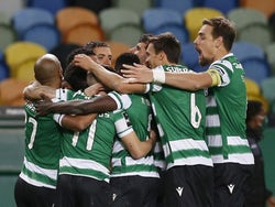Sporting Lisbon's Pedro Goncalves celebrates scoring their first goal with teammates in January 2021