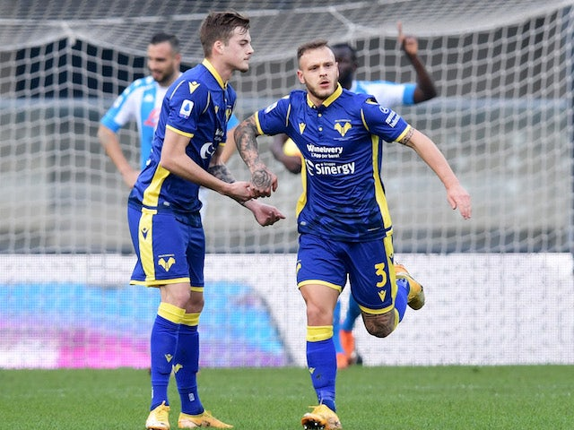 Hellas Verona's Federico Dimarco celebrates scoring their first goal on January 24, 2021