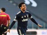 Juventus' Weston McKennie celebrates scoring their second goal on January 24, 2021