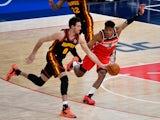 Washington Wizards forward Rui Hachimura pressures Atlanta Hawks forward Danilo Gallinari on January 30, 2021
