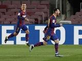 Barcelona's Lionel Messi celebrates scoring against Athletic Bilbao in La Liga on January 31, 2021