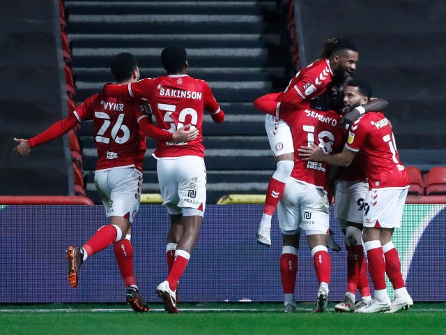Famara Diedhiou celebrates scoring for Bristol City against Huddersfield Town in the Championship on January 26, 2021