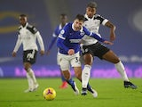 Brighton & Hove Albion's Joel Veltman in action with Fulham's Mario Lemina in the Premier League on January 27, 2021