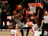 Brooklyn Nets forward Kevin Durant goes up for a shot against Miami Heat on January 26, 2021