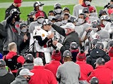Tampa Bay Buccaneers celebrate beating the Green Bay Packers in the NFC Championship on January 24, 2021