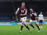 Burnley's Chris Wood celebrates scoring against Aston Villa in the Premier League on January 27, 2021