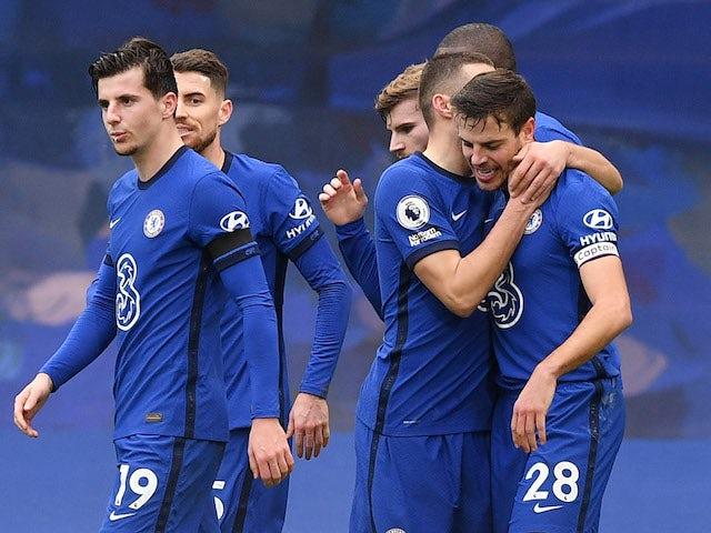 Chelsea's Cesar Azpilicueta celebrates scoring against Burnley in the Premier League on January 31, 2021