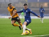Chelsea's Ben Chilwell in action with Wolverhampton Wanderers's Adama Traore in the Premier League on January 27, 2021