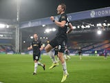 Tomas Soucek celebrates scoring for West Ham United against Crystal Palace in the Premier League on January 26, 2021