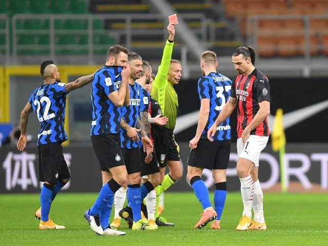 Zlatan Ibrahimovic is sent off for AC Milan against Inter Milan in the Coppa Italia on January 26, 2021
