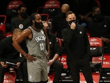 Brooklyn Nets guard James Harden and head coach Steve Nash pictured on January 25, 2021