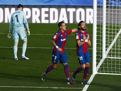 Levante's Jose Luis Morales celebrates scoring their first goal against Real Madrid on January 30, 2021