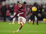 Said Benrahma warms up for West Ham United in January 2021