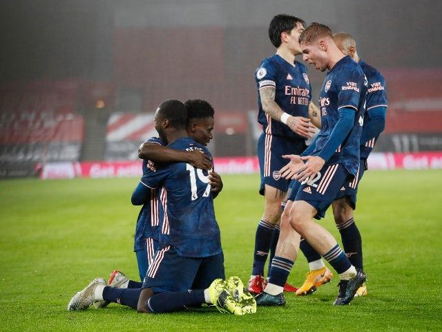 Bukayo Saka celebrates scoring for Arsenal against Southampton in the Premier League on January 26, 2021