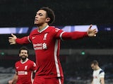 Liverpool's Trent Alexander-Arnold celebrates scoring against Tottenham Hotspur in the Premier League on January 28, 2021