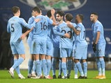 Ilkay Gundogan celebrates scoring for Manchester City against West Bromwich Albion in the Premier League on January 26, 2021