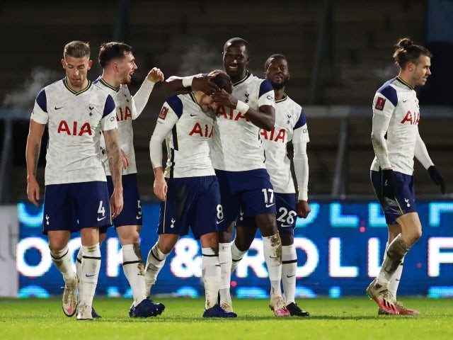 Harry Winks celebrates scoring for Tottenham Hotspur against Wycombe Wanderers in the FA Cup on January 25, 2021
