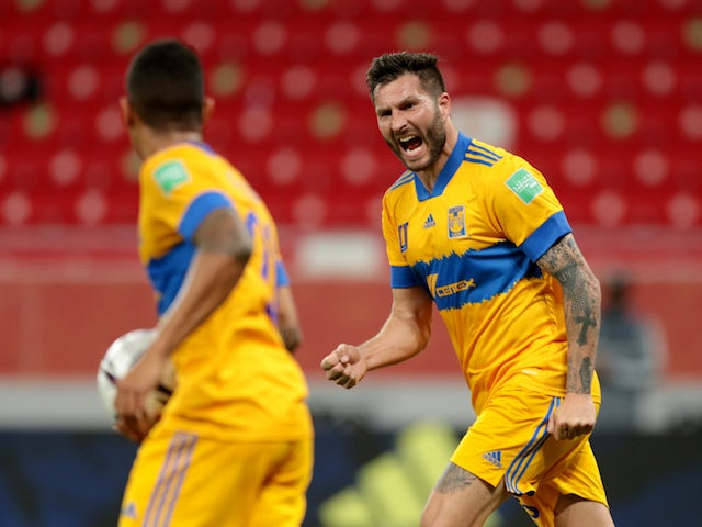 Tigres UANL's Andre-Pierre Gignac celebrates scoring their first goal with teammates at the Club World Cup on February 4, 2021