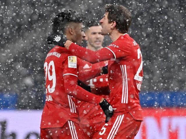Kingsley Coman celebrates scoring for Bayern Munich against Hertha Berlin in the Bundesliga on February 5, 2021