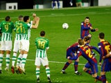 Barcelona's Lionel Messi takes a free kick during the La Liga clash with Real Betis on February 7, 2021