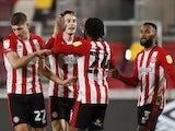 Brentford's Sergi Canos celebrates scoring against Bristol City in the Championship on February 3, 2021