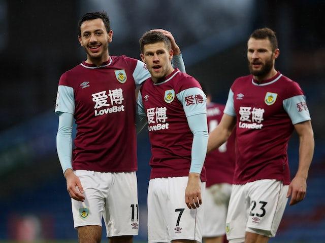 Burnley's Johann Berg Gudmundsson celebrates with teammates on February 6, 2021