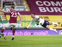 Manchester City's Gabriel Jesus scores against Burnley in the Premier League on February 3, 2021