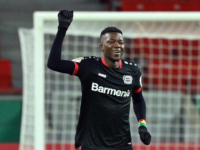 Bayer Leverkusen's Edmond Tapsoba celebrates scoring in January 2021