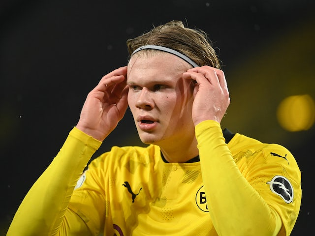 Erling Braut Haaland in action for Borussia Dortmund on February 2, 2021