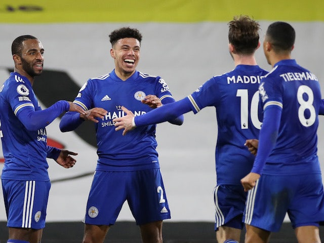 Leicester City's James Justin celebrates scoring against Fulham in the Premier League on February 3, 2021