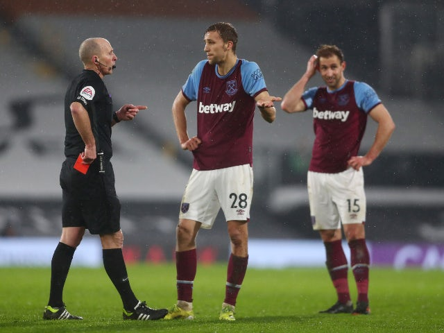 Tomas Soucek is sent off for West Ham United against Fulham in the Premier League on February 6, 2021