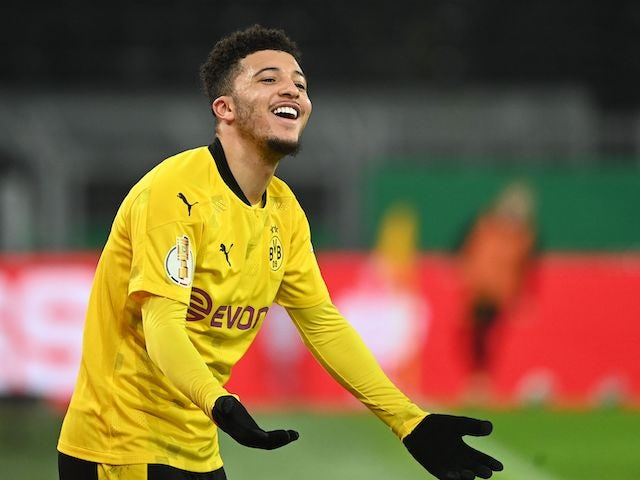 Jadon Sancho in action for Borussia Dortmund on February 2, 2021