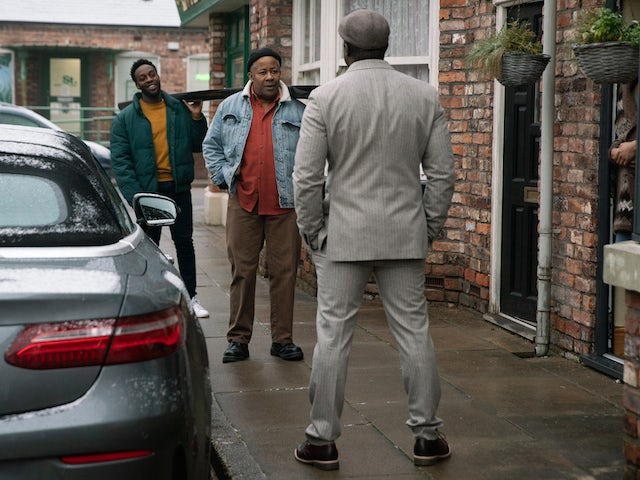 Ronnie, Ed and Michael on Coronation Street on February 19, 2021