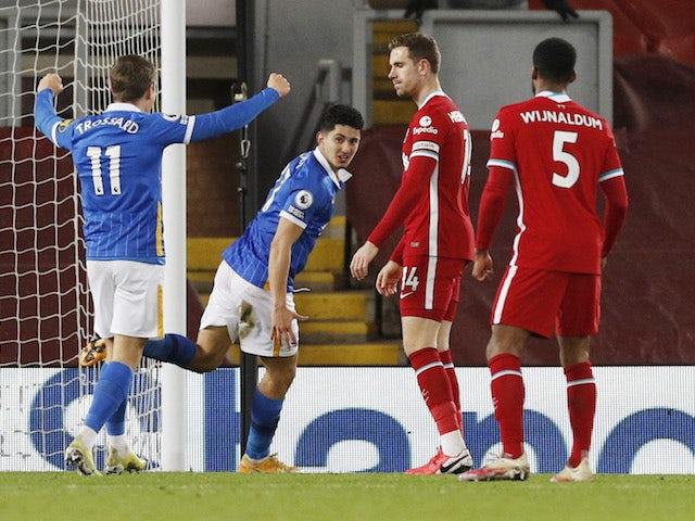 Brighton & Hove Albion's Steven Alzate celebrates scoring against Liverpool in the Premier League on February 3, 2021