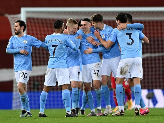 Manchester City's Phil Foden celebrates scoring against Liverpool in the Premier League on February 7, 2021
