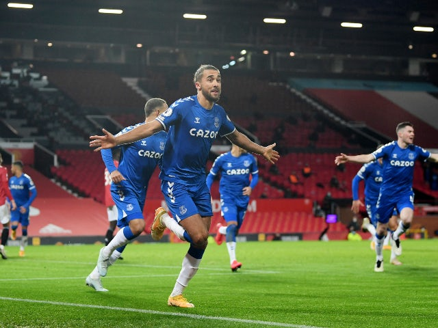 Dominic Calvert-Lewin celebrates scoring for Everton against Manchester United in the Premier League on February 6, 2021