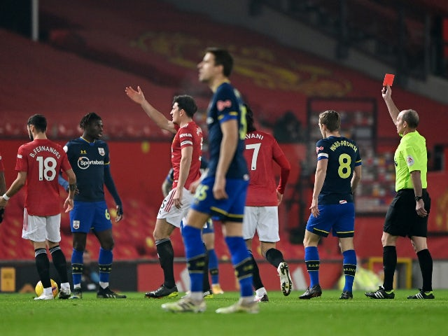 Alexandre Jankewitz is sent off for Southampton against Manchester United on February 2, 2021