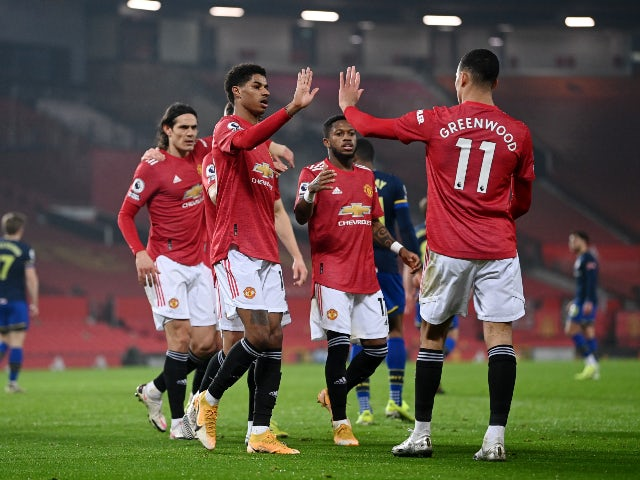 Marcus Rashford celebrates scoring for Manchester United against Southampton in the Premier League on February 2, 2021