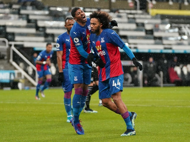 Jairo Riedewald celebrates scoring for Crystal Palace against Newcastle United in the Premier League on February 2, 2021